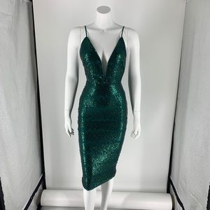 NEW Michael Costello Midi Dress Green Sequin Sm